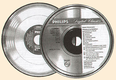 Early design and final appearance of the label of the Compact Disc