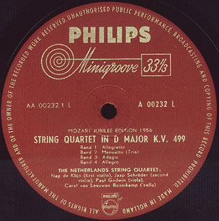 Philips label A00232L - Netherlands String Quartet